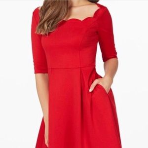 Brand new red dress with scalloped neckline